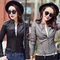 Leather clothing female short design slim leather coat women gray leather jacket women fashion new 2017