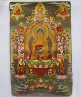 Collectible Traditional Tibetan Buddhism in Nepal Thangka of Buddha paintings ,Big size Buddhism silk brocade painting p002560