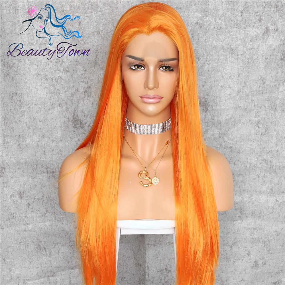 BeautyTown HandTied naranja rojo 1B White Heat resistente recto Cosplay celebridad boda fiesta sintético peluca con malla frontal