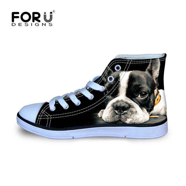 Online Shop FORUDESIGNS Fashion Women Casual 3D Animal French Bulldog  Frenchie Printed Shoes Female Lace-up Flats Girl High Top Canvas Shoes  ed6aad118b6a