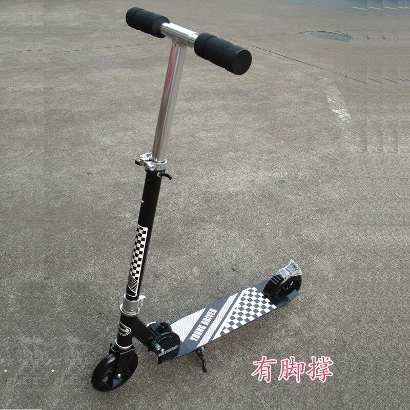 Les adolescents adulte fold kick scooter ville véhicule urbain push scooter hauteur réglable 200mm pu roues arrière garde-boue arrière de frein