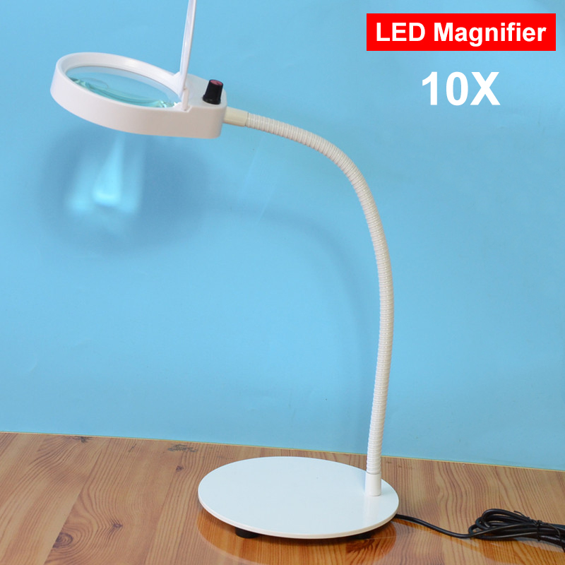 LED Desktop magnifier 3X/10x magnifying glass dimmable light magnifier for Industry Factory For reading repairing table lamp new universal desktop magnifier usb with led light 10x for maintenance reading micro engraving magnifying glass