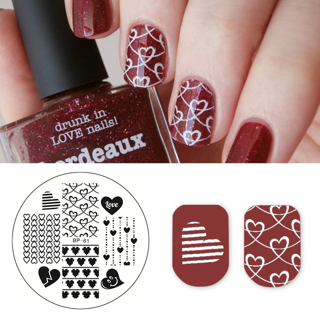 BORN PRETTY Love Heart Nail Art Stamping Template Pattern Image ...