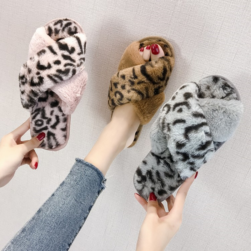 COOTELILI Winter Women Home Slippers with Faux Fur Fashion Warm Shoes Woman Slip on Flats Female Slides Leopard Plus Size 41