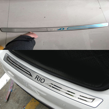 1PCS car styling Stainless Steel Inner Rear Bumper Protector Sill Trunk covers Trim For Kia Rio