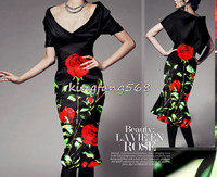 Designer 35 Natural Mulberry Silk 65 Woolen Clothing Fabric Silk Woolen Satin Red Roses Cheongsam Dresses