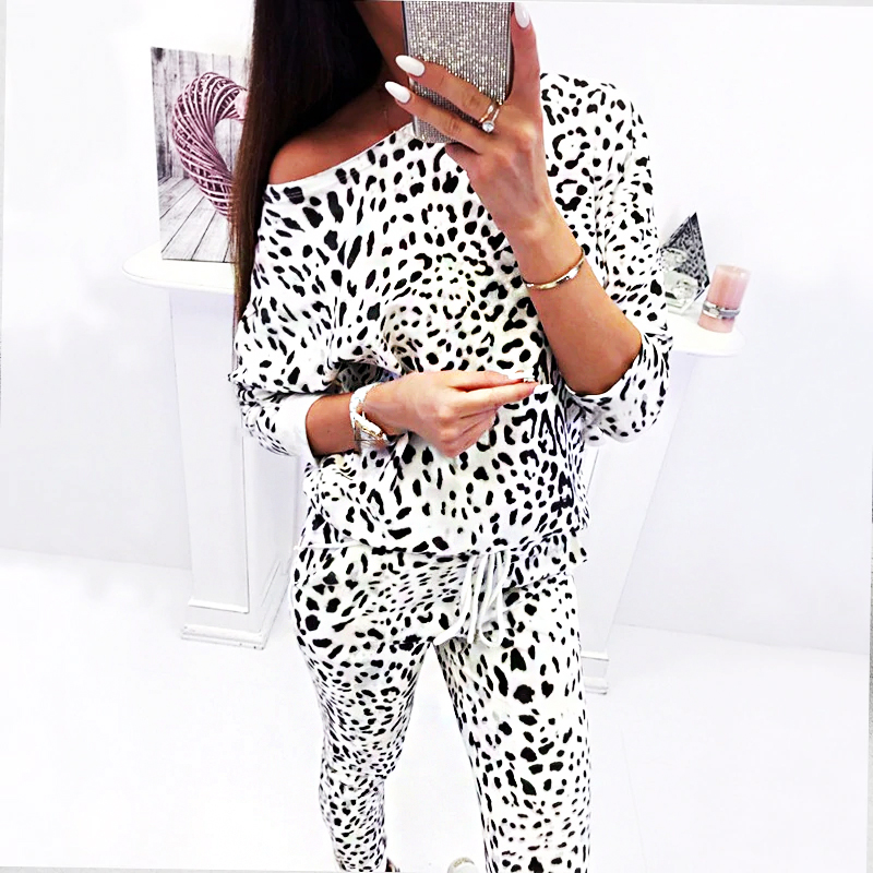 Autumn winter women two piece set fashion leopard print top and pants 2 piece sets 2018 long sleeve tracksuit casual sweat suits
