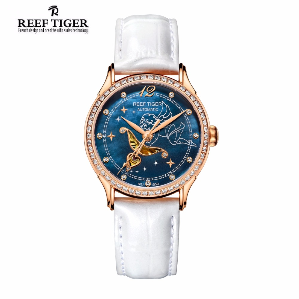 2017 Reef Tiger/RT Blue Dial Watches for Women Rose Gold Fashion Watches Diamonds Quartz Watch Leather Band RGA1550 yn e3 rt ttl radio trigger speedlite transmitter as st e3 rt for canon 600ex rt new arrival