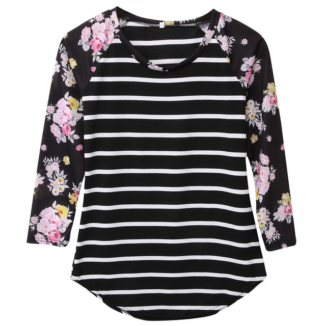 Full Sleeve Tshirts Cotton Women Striped Floral Patchwork Raglan Long Sleeve Tshirt Women Tee Shirt Femme Plus Size T-shirt