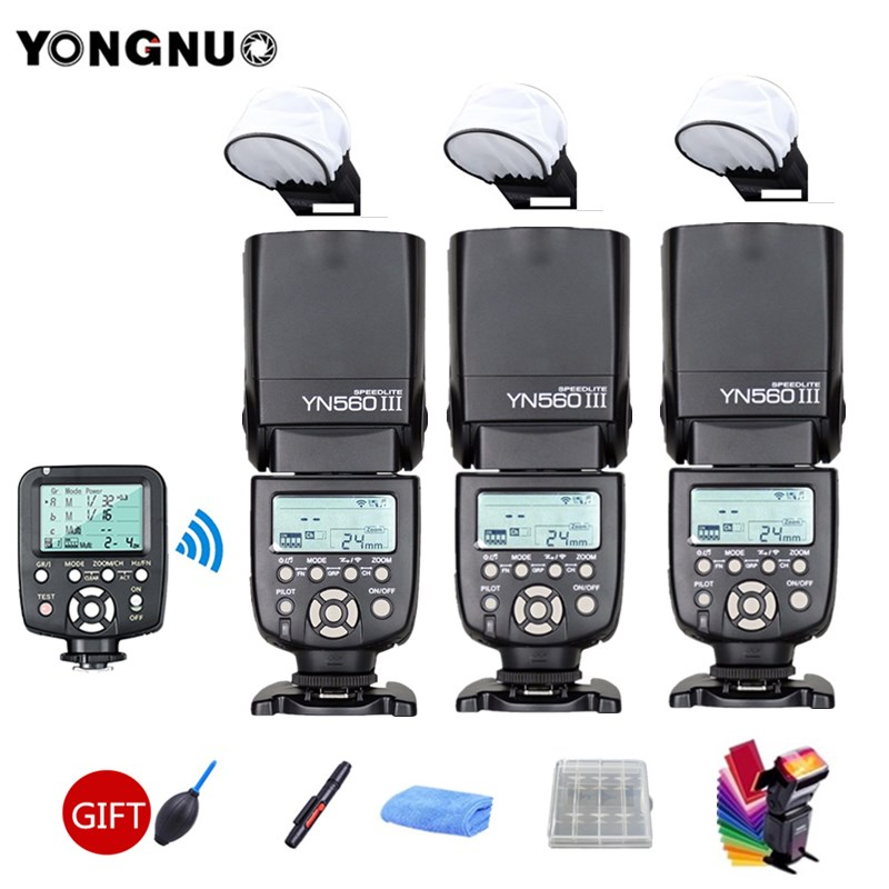 3pcs YONGNUO YN560III YN560 III Flash Speedlite General Wireless + YN560-TX Trigger For Canon Nikon Camera 2 pcs yongnuo yn560 iii yn560iii flash speedlite flashlight for canon nikon
