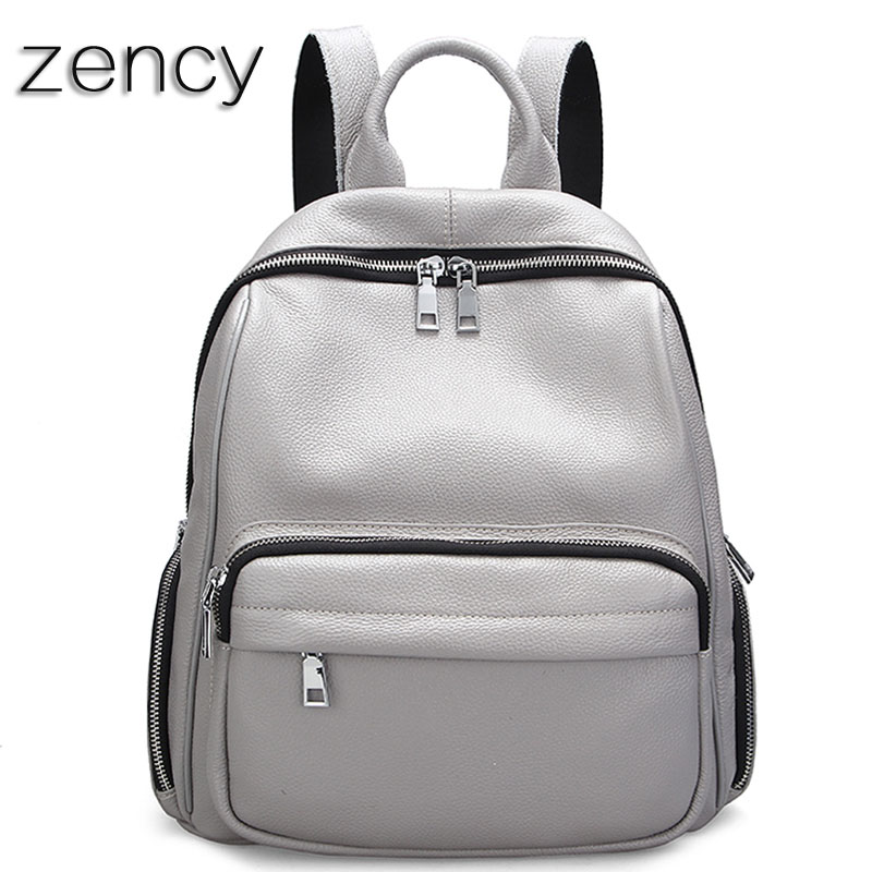 ZENCY Fashion Leather Backpack Real Natural Genuine Leather Women Backpacks Ladies Girl School Bag Top Layer Cowhide Mochila zency genuine leather backpacks female girls women backpack top layer cowhide school bag gray black pink purple black color