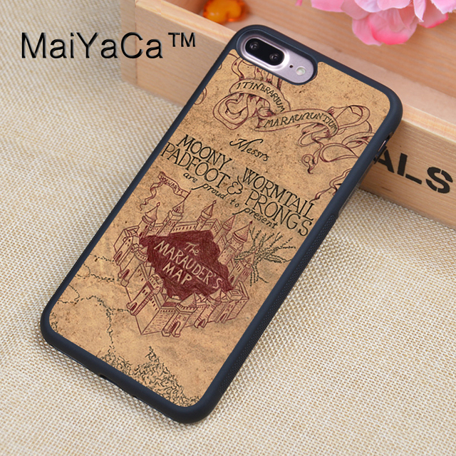 new concept 371af 2c972 US $4.08 10% OFF|MaiYaCa harry potter marauders map Printed Phone Cases For  iPhone 8 Plus Luxury Back Cover Skin TPU Protective Shell-in Fitted Cases  ...