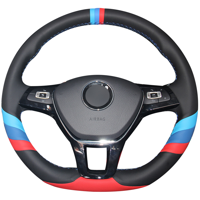 Black Red Blue Natural Leather Car Steering Wheel Cover for Volkswagen VW Golf 7 Mk7 New