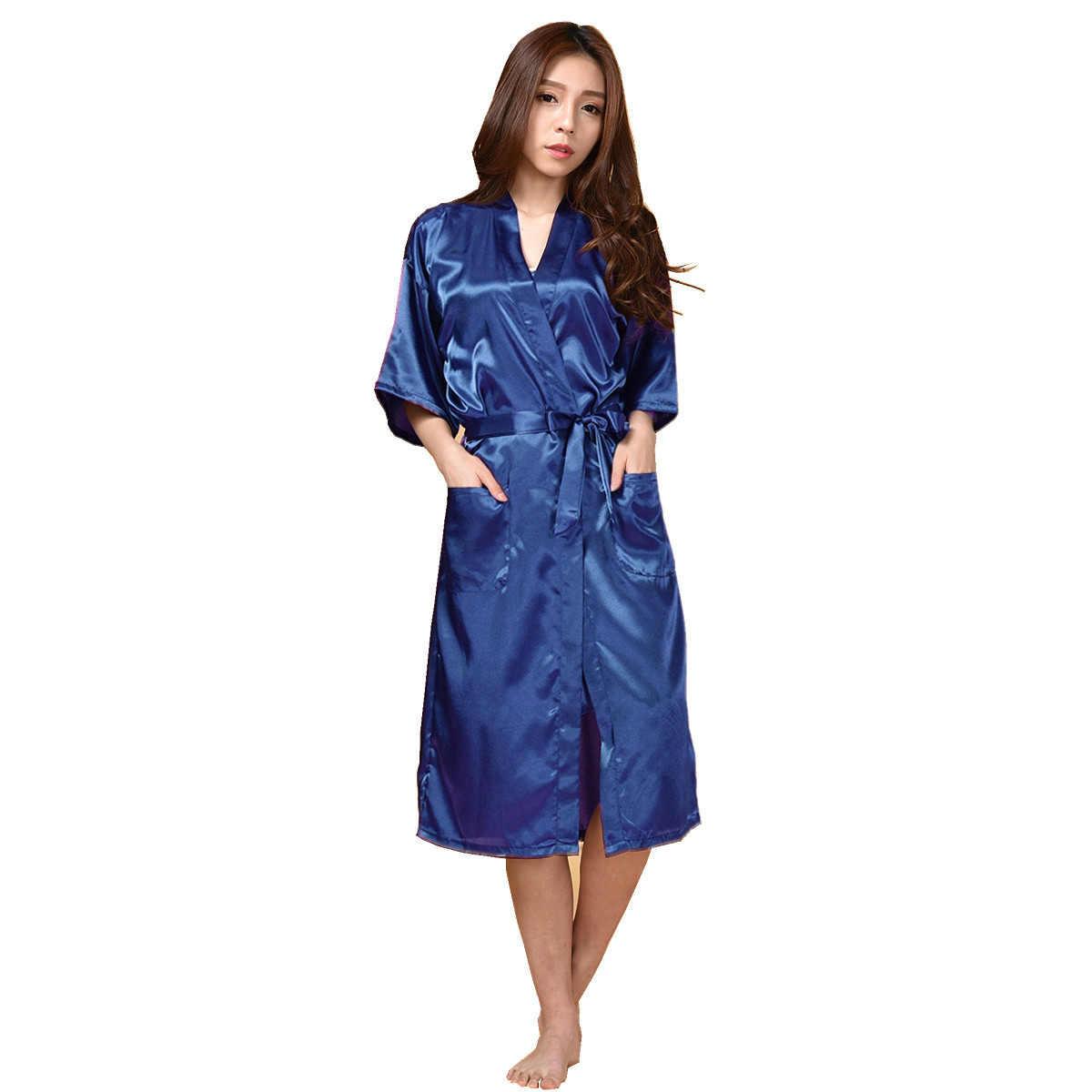 ホワイト中国の女性のローブ着物フェイクシルクガウンバスローブナイトガウンカジュアル春パジャマ Hombre スパースターサイズ S-XXXL
