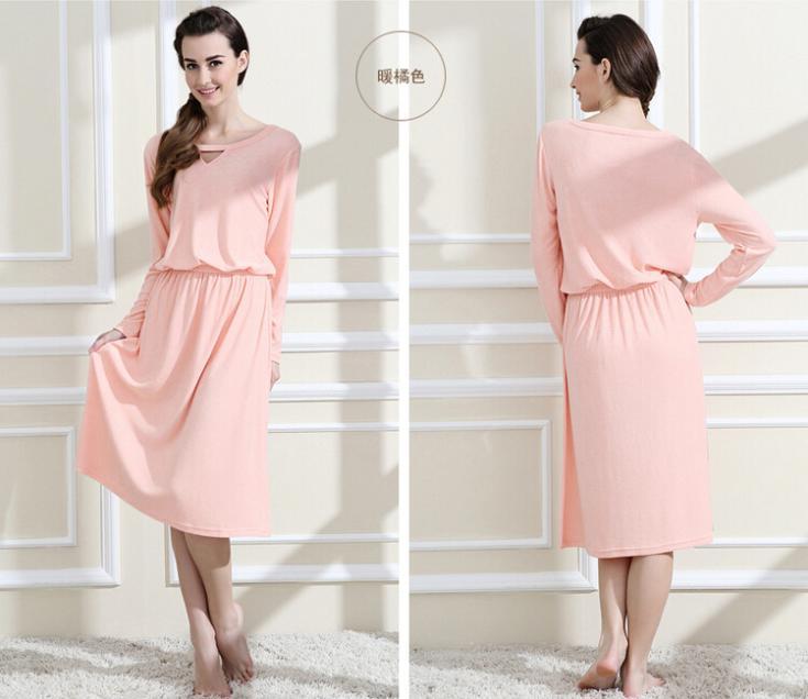 Long style Nightgowns womens full sleeve bamboo fiber bathrobes ...