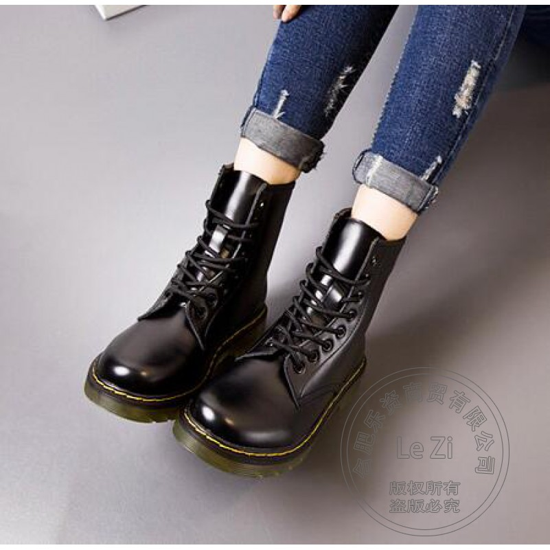 ФОТО 2016 Martin Boots Women Ankle Boots Real Leather Military Girls for Casual Walking Shoes Winter Snow Boots Big Size 9~12