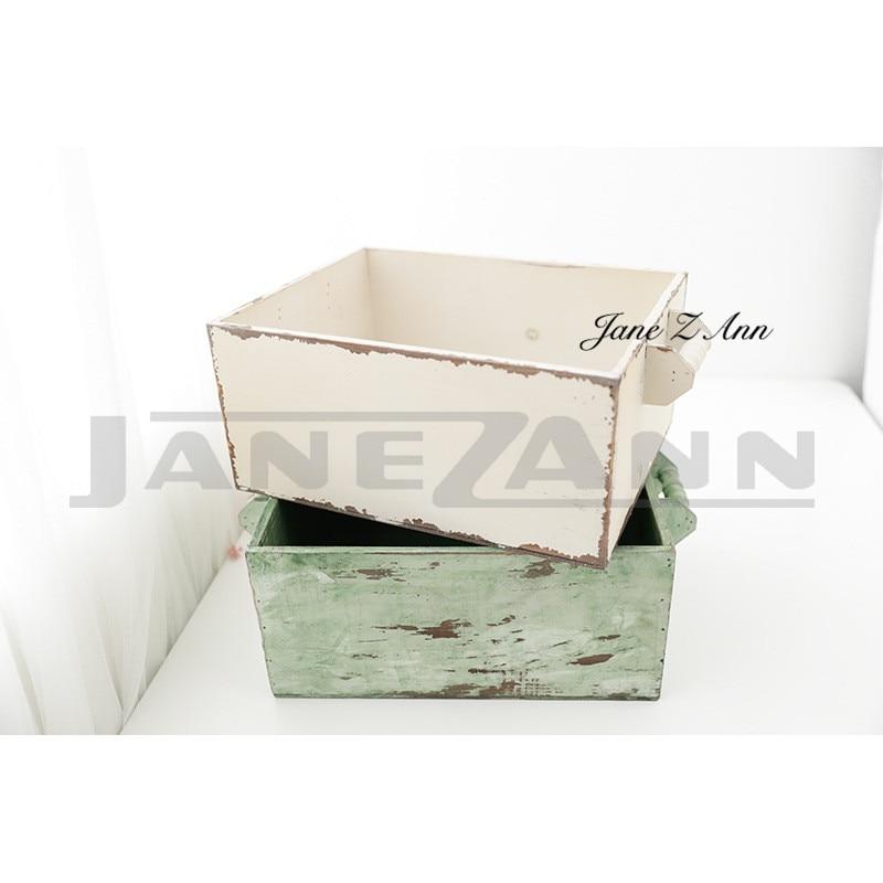 Jane Z Ann Newborn photography props retro drawer basket infant white green photoshoot studio accessories цена 2017