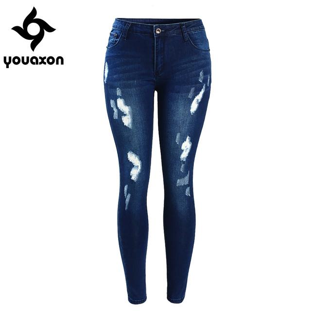 Women`s Fashion Mid Waist Stretch Fading Blue Ripped Slim Distressed Elegant Denim Jeans
