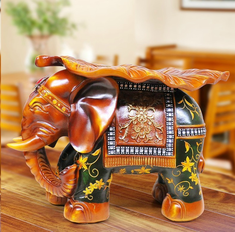 c painted red and green resin technology elephant stool housewarming gifts home decorationchina - Green Technology Homes