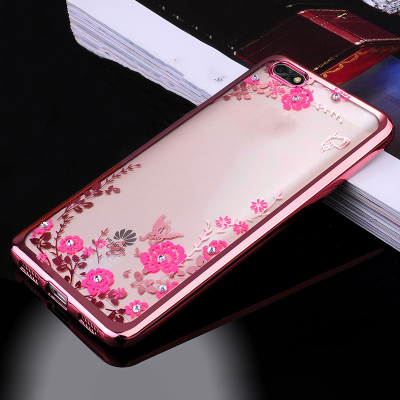"""For Huawei Honor 7S Case 5.45"""" TPU Silicone Flower Bling Diamond Clear Soft Case For Huawei Y5 Prime 2018 Honor 7S 7 S DUA-L22"""