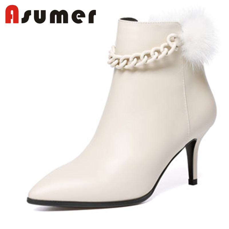 ASUMER 2018 FASHION pointed toe fur adult ankle boots for women thin heels winter boots elegant genuine leather high heels bootsASUMER 2018 FASHION pointed toe fur adult ankle boots for women thin heels winter boots elegant genuine leather high heels boots