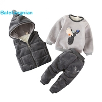 Baby Boys Girls Winter Sets Kids WaistCoat + Sweatshirt + Pants 3pcs Warm Infant Cotton Deer Clothing Suit Toddler 1 4 years J65