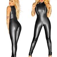 Sexy Turtleneck Faux Leather Zipper Open Crotch Bust Bodysuit Shiny Latex Wet Look Body Stockings Erotic Lingerie Plus Size F44