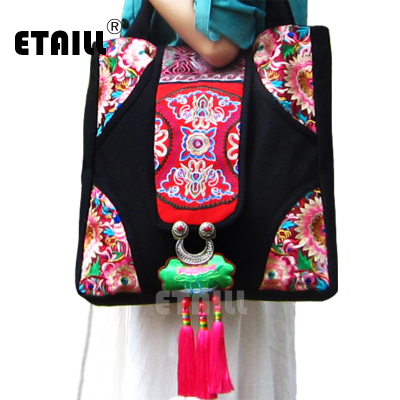 2016 Original National Ethnic Hmong Embroidery Bags Handmade Embroidered Shoulder Messenger Bag Tassel Sac Femme Bordado Bolsa 2016 summer national ethnic style embroidery bohemia design tassel beads lady s handbag meessenger bohemian shoulder bag