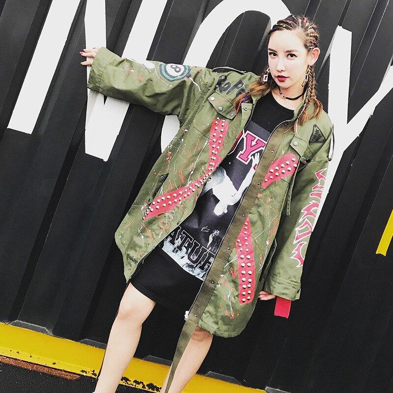 Tranchée Lâche Punk Imprimer Rubans Vert Militaire Graffiti Outwear Femmes Manteau Lt169s15 Rivet Rue 2017 Armée NOwvm8n0