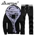 2017 Outwear Casual Tracksuit Suit Plus Size M-4XL Thick Velvet Hoodies Winter Warm Casual Men Sweatshirt Pants Coat Set
