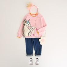 Girls Tassel Sweaters Autumn Clothing Winter Pullover Horse Sweater Cartoon Unicorn Long Sleeve Outerwear O-neck Kids Knitwear