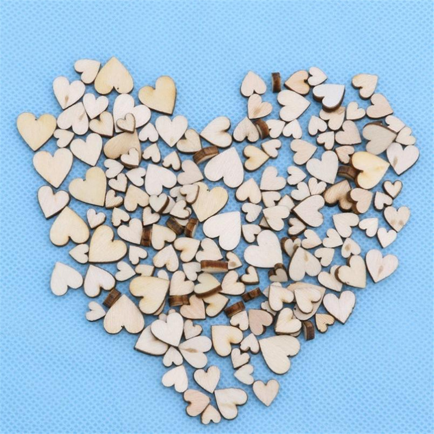 2018 New 100pcs Creative Rustic Wood Wooden Love Heart Wedding Table Scatter Decoration Crafts DIY Party Decoration  Best Gift