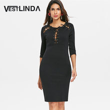 VESTLINDA Lace Up Pencil Dress Women Three Quarter Sleeve O Neck Midi  Vestidos De Festa Slim a9ab2f9355b1
