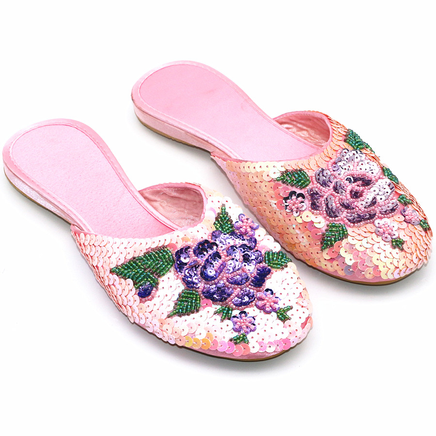 Ladies Sequins Slippers Women Outdoor Flat Slipper Silk and Satin Home Shoe Sparkling Fashion Mules Woman Vintage Summer Slides 2