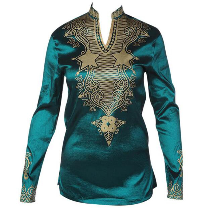 Cheap Fashion Design V neck Male Satin Blouse Tops African Print font b Shirt b font