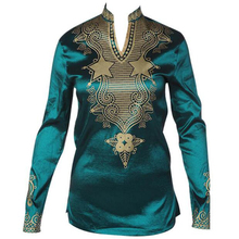 Cheap Fashion Design V neck Male Satin Blouse Tops African Print Shirt Dashiki Style Traditional Africa Clothing