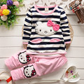 Spring 2015 New Children's Clothing Girls Striped T-shirt + pants cartoon kitty cat bow striped long-sleeved suit KT free ship