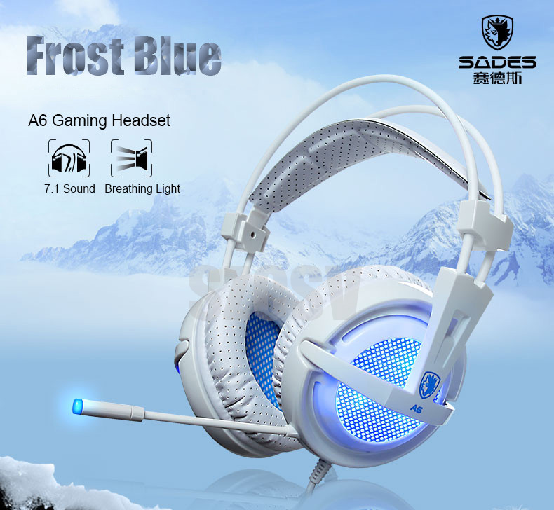 Sades A6 Gaming Headphones 7.1 Surround Sound Stereo USB Game Headset with Microphone Breathing LED Lights for PC Gamer (1)