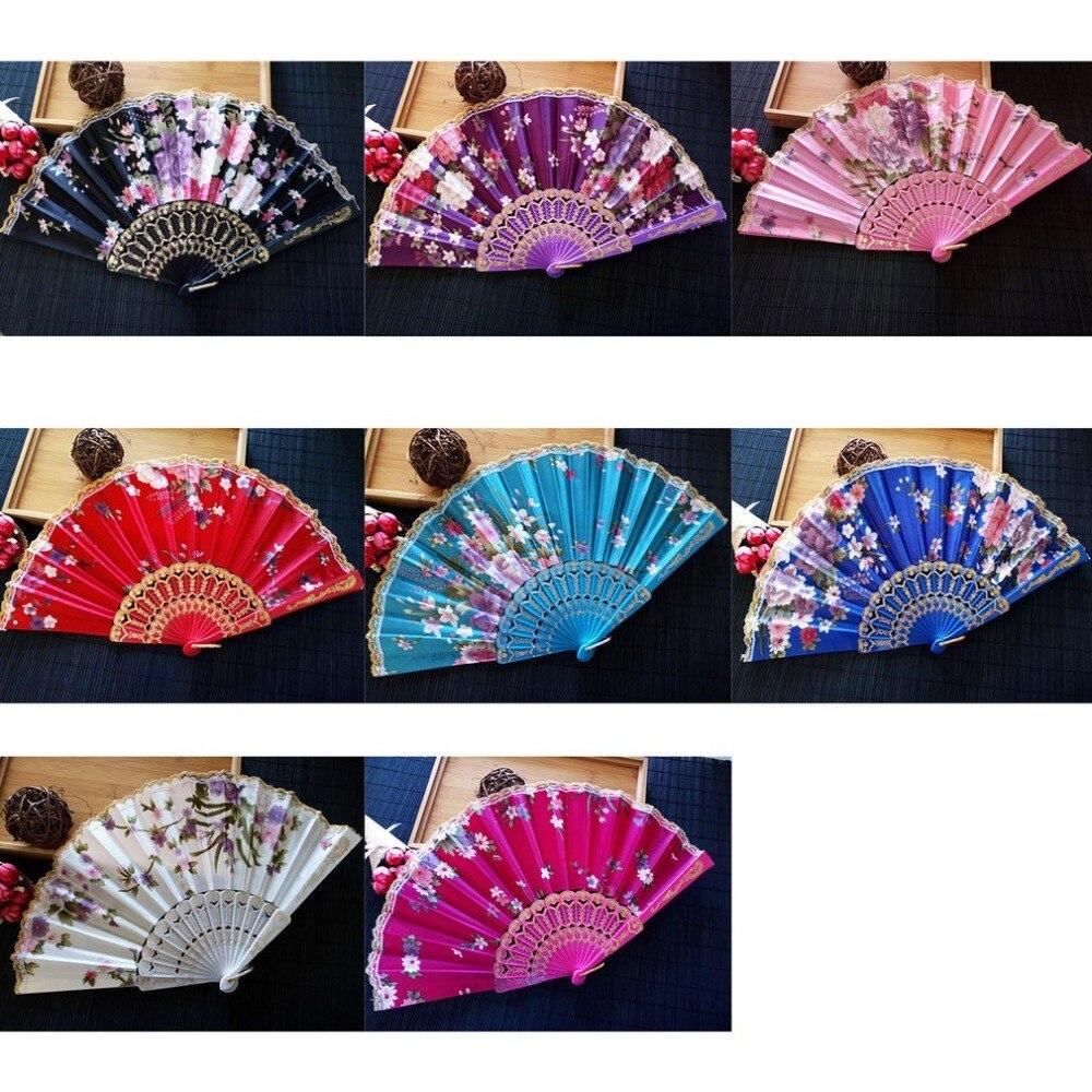 Summer Style Folding Hand Held Fan Fabric Floral Wedding Dance Favor Pocket Fan