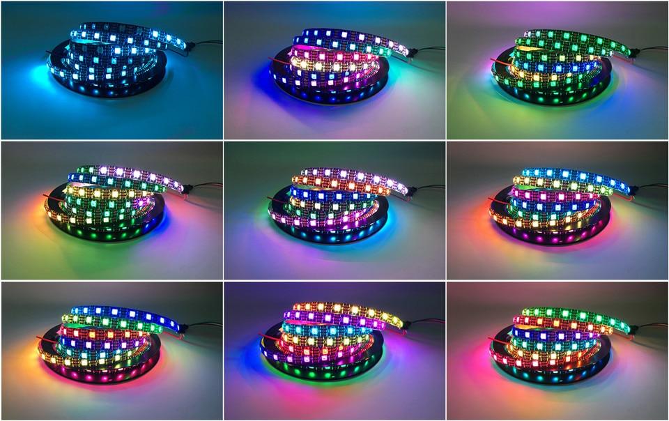 HTB1b9cCmNPI8KJjSspfq6ACFXXaO DC5V WS2812B 30/60/144 leds/m Smartled pixel RGB individually addressable led strip light Black/White PCB IC WS2812 pixel strips