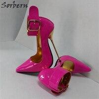 Sorbern персик Блестящий Для женщин насосы широкий лодыжки ремни острый носок 12 см 14 см Шпильки Металл Высокие Женские туфли на высоком каблуке