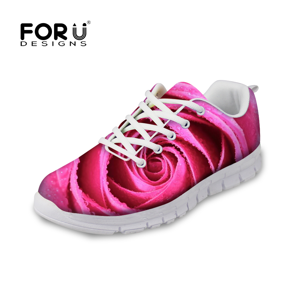FORUDESIGNS Pretty 3D Flower Rose Printing Women Autumn Flats Shoes Fashion Breathable Sneakers for Ladies Flat Female Zapatos forudesigns 3d fruit pattern autumn casual shoes flats woman light breathable lace up flat shoes for ladies women leisure shoe