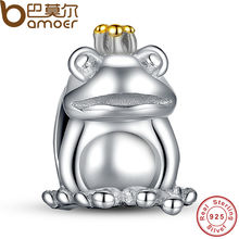 Authentic 925 Sterling Silver Frog Prince Animal Pet Charm Fit Bracelet with 14 Gold Plated Crown Jewelry Making PAS007