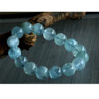 Free shipping Wholesale Natural Genuine Blue Aquamarine Stretch Bracelet Round Big Beads 13mm Beryl Bracelets Fit Jewelry 02756