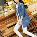 2016 solta casuais Jaqueta Jeans fino calça jeans camisa das Mulheres usam grandes yardYEU-Y