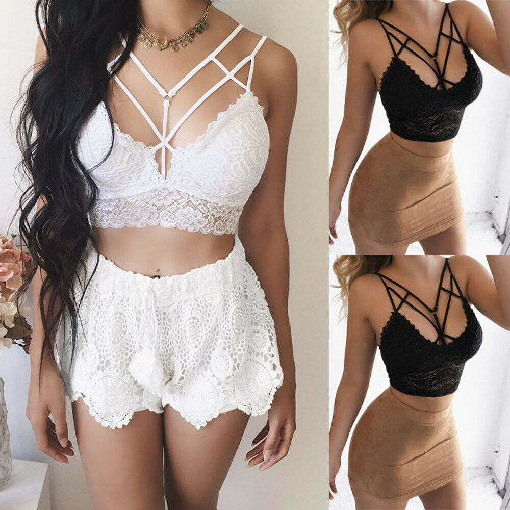 Women Sexy Vest Chest Padded Tank Tops SexyVest ShapingUnderwear Lace Strap Casual Wild Small Bra Gathered Bra HE