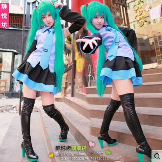 Hatsune Miku Cosplay Costume Clothes For Girl/Women Theatrical Costume outfits tops+skirts+tie+2 Gauntlets+2 leather socks