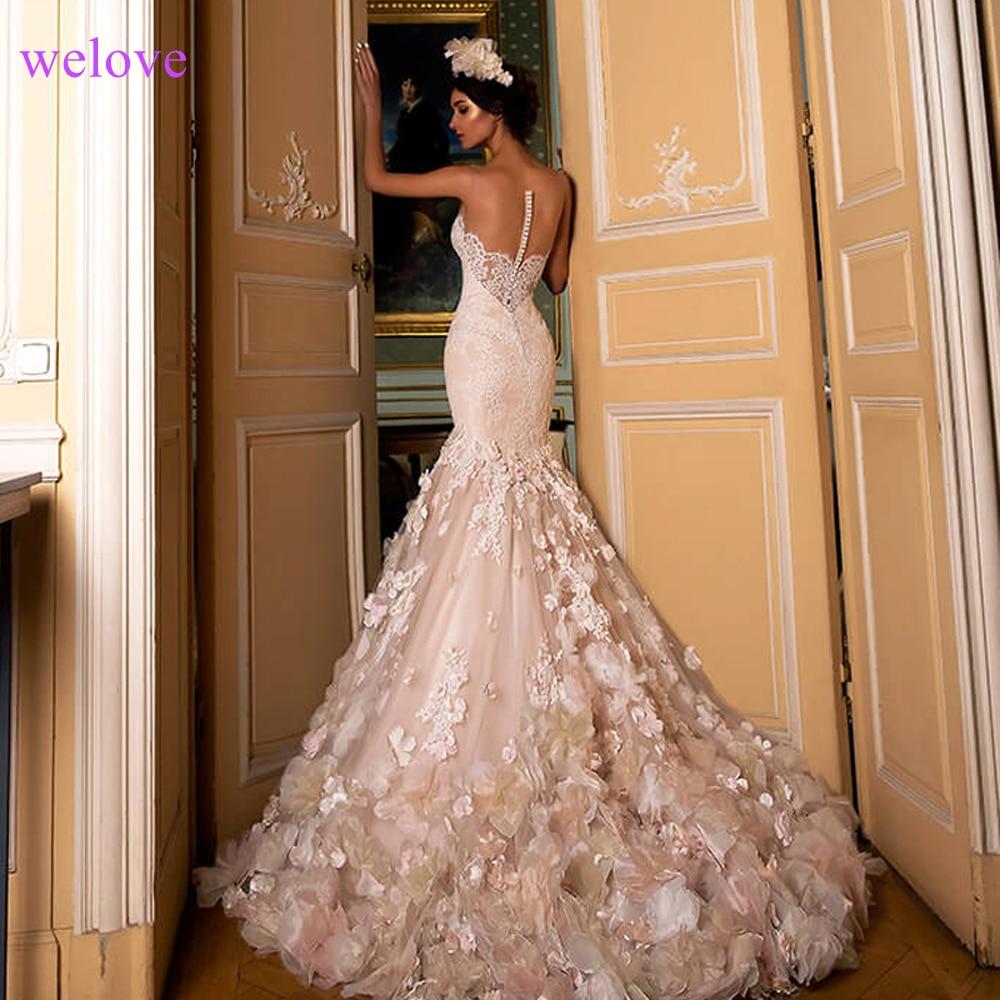 Us 228 0 20 Off Illusion Y Mermaid Train Wedding Dress 2019 New Style Korean Lace Liques Sequined Fishtail Bride Princess Estidos De Noiva In
