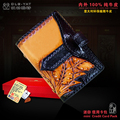 HongKong OLG.YAT New design Handmade leather carving mini card package Italy pure leather National wind retro credit card bags