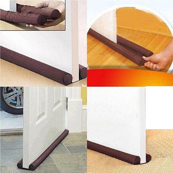Brown Twin Door Draft Dodger Guard Stopper Energy Saving Protector Doorstop For Door Accessories